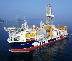 Exxon drillship on location in block 10