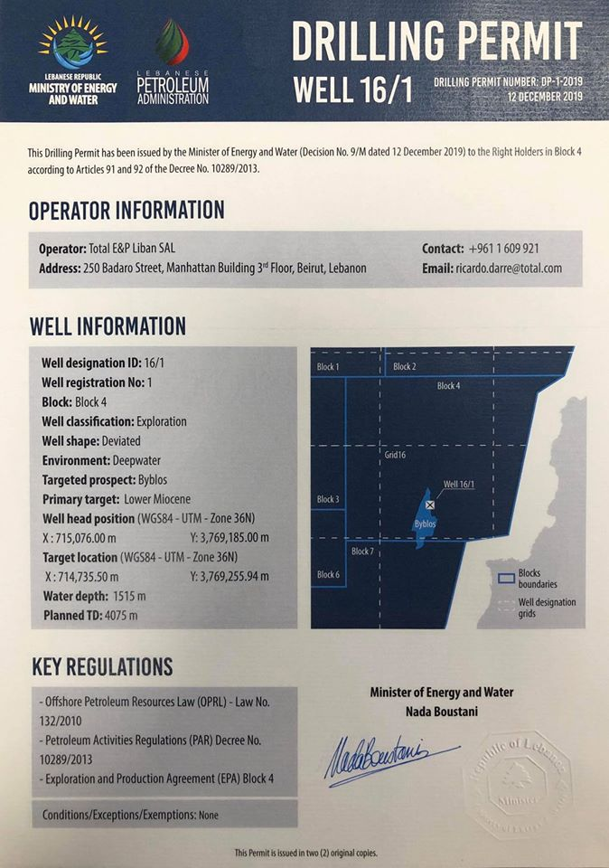 Total says Lebanon offshore drilling halfway done